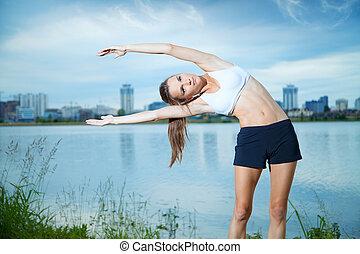体操運動員, 水, 晚上, 鍛煉