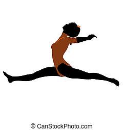 体操運動員, 黑色半面畫像, 女性, 插圖