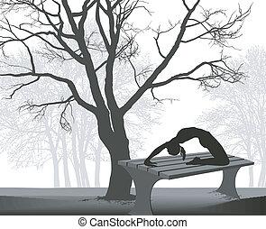 体操選手, テーブル, 公園