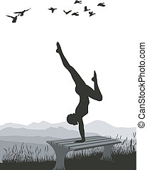 体操選手, ベンチ, 自然