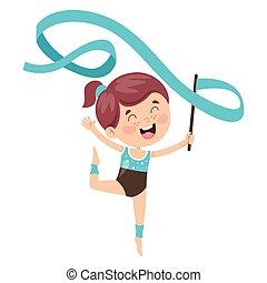 体操, 練習, 子供, 幸せ