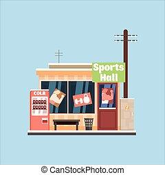 体育館, front., 矢量, 插圖