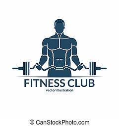 体育馆, 描述, 符号, 矢量, 健身, 标志。, 标识语