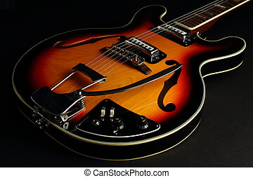 体, ギター, 黒い背景, くぼみ