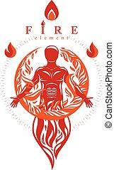 体, グラフィック, シルエット, 火, エネルギー, 強力, イラスト, 人, standing., ベクトル, マレ, カバーされた, 強い, fireball., 束