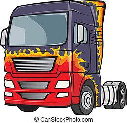 体, トラック, 炎
