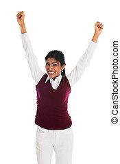 体, フルである, 成功, 隔離された, 祝う, indian, 女性, 偶然