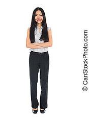 体, フルである, 背景, ビジネス, アジアの女性, 白