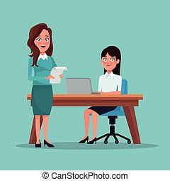 体, フルである, 色, ラップトップ, 経営者, セット, 仕事場, 背景, 机, 女性