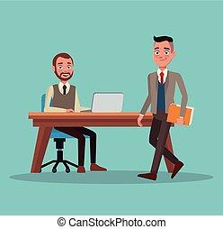 体, フルである, 色, ラップトップ, 経営者, セット, 仕事場, 背景, 机, 男性