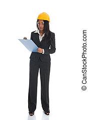体, フルである, 計画, 隔離された, 女性, indian, 建築家, 背景, 保有物, 白, エンジニア