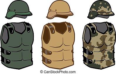体, ヘルメット, ベスト, よろいかぶと, カモフラージュ, 保護, 軍, 炭素, 衣類, 戦争