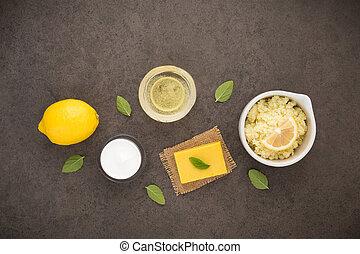 体, ミント, セット, 自然, 原料, オイル, レモン, の上, ローション, 暗い, バックグラウンド。, 塩, 手製, スキンケア