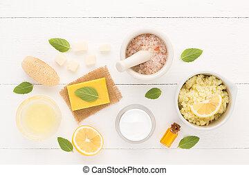 体, ミント, セット, 自然, 原料, オイル, レモン, の上, ローション, 木製である, 塩, luffa, バックグラウンド。, 手製, 皮膚, 白, 心配