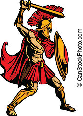 体, 保護, spartan, イラスト, ベクトル, 剣, マスコット