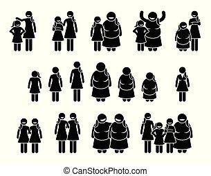 体, 別, 女, 大きさ, 女の子, icons., 高さ