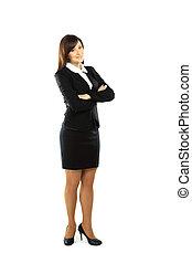 体, 地位, フルである, 女性実業家, 隔離された, 白