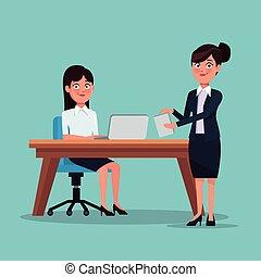 体, 地位, フルである, 色, ラップトップ, 経営者, 毛, マネージャー, セット, 仕事場, 背景, 机, 集められた, 女性