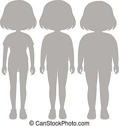 体, 女の子, セット, シルエット, 変形