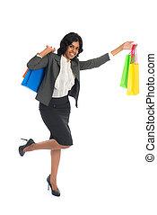 体, 女性買い物, indian, 隔離された, フルである, 白