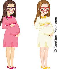 体, 女, フルである, 妊娠した