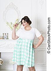 体, 女, 太りすぎ, 脂肪, ファッション, プラス, 贅沢, 女性, モデル, 大きさ, 内部