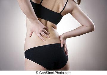 体, 女, 痛み, 人間, backache.