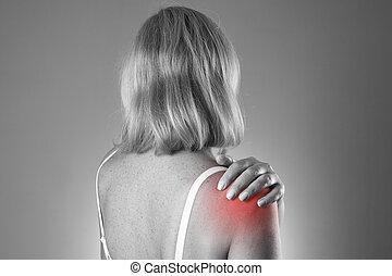 体, 女, 痛み, 人間, shoulder.