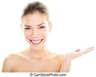体, 女, 美しさ, 提示, 手, skincare, アジア人, 心配