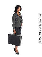 体, 女, indian, ビジネス, 隔離された, フルである, スーツケース, 白