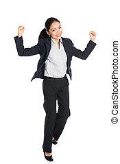 体, 女, success., ビジネス, 成功した, イメージ, 若い, 隔離された, バックグラウンド。, 彼女, フルである, 白, 幸せ