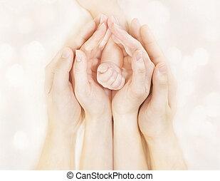 体, 家族, 手, 父, 生まれる, 腕, 母, 赤ん坊, 新しい, 子供
