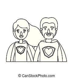 体, 心, スケッチ, 風刺漫画, 英雄, 恋人, ユニフォーム, 輪郭, 半分, 極度, シンボル