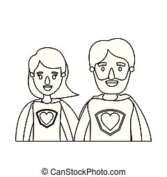 体, 心, スケッチ, 風刺漫画, 英雄, 恋人, ユニフォーム, 輪郭, 親, 半分, 極度, シンボル