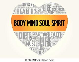 体, 心, 単語, 心, 精神, 精神, 雲