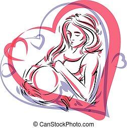 体, 心, 女, アウトライン, fondles, 妊娠した, concept., 囲まれた, イラスト, 形, 彼女, ベクトル, frame., belly., 優美である, 愛撫, 幸福, これから母となる人