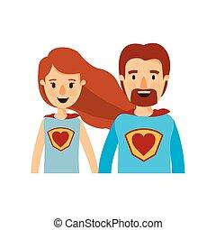 体, 心, 風刺漫画, 英雄, カラフルである, 恋人, ユニフォーム, 半分, 極度, シンボル