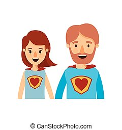 体, 心, 風刺漫画, 英雄, カラフルである, 恋人, ユニフォーム, 親, 半分, 極度, シンボル