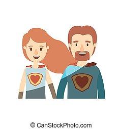 体, 心, 風刺漫画, 英雄, 色, ライト, 恋人, ユニフォーム, 半分, 影で覆うこと, 極度, シンボル