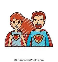 体, 心, 風刺漫画, 英雄, 色, 恋人, ユニフォーム, クレヨン, ストライプ, 半分, 極度, シンボル
