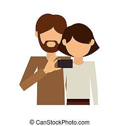 体, 恋人, 取得, 半分, 人, どこ(で・に)か, selfie, ひげ