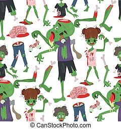 体, 恐い, マジック, illustration., カラフルである, 人々, ハロウィーン, 特徴, seamless, 漫画, ゾンビ, ベクトル, 緑の背景, パターン, 部分, モンスター