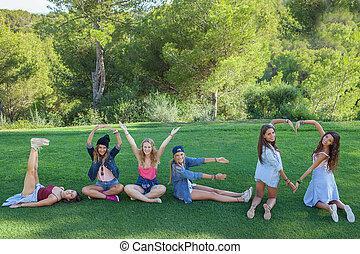 体, 愛, 腕, 形, 作成, 十代の若者たち