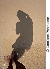 体, 浜, 影, 完了しなさい, 投げる, 提示, 砂, 円, 大丈夫です, smoth, 人