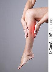 体, 灰色, 痛み, 人間, 女性, 子牛, 背景, feet., woman., 筋肉, マッサージ