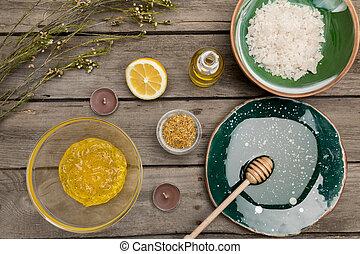 体, 自然, 木製のこま, aromatherapy, プロダクト, テーブル, 心配, 光景