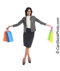 体, 袋, 女性買い物, indian, 隔離された, フルである, 白