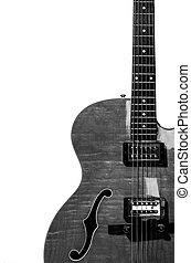 体, 電気である, 隔離された, くぼみ, ギター, 黒い背景, 白