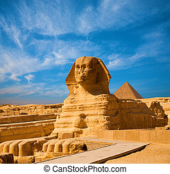 体, 青, 大きい ピラミッド, スフィンクス, エジプト, 空, ギザ