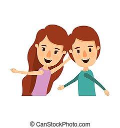 体, 風刺漫画, カラフルである, ダンス, 恋人, 側, 半分, 子供, 光景